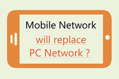 Infografics style presentation to show the trend of mobile network and PC network
