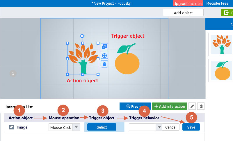 Add interaction into animated presentation - Focusky Knowledge Base